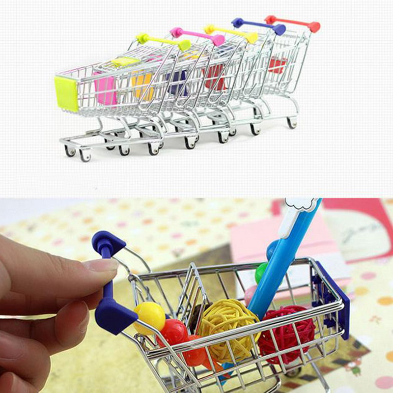 9 Colors Mini Baby Trolley Supermarket Handcart Toy Carts Storage Folding Mini Shopping Cart Basket Toys For Children Boys(China)