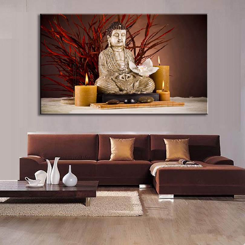 Large Size 1 Pcs Still Life Buddha Painting Prints On Canvas Buddha Holy Maitreya with Candlestick Wall Art For Home Decor