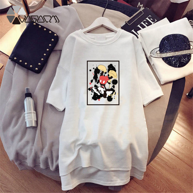 2019 Minnie Mickey Mouse Print Clothing Women Mini Dresses Loose Cartoon Black Casual Big Size Fashion M 4XL Mujer Dress Clothes in Dresses from Women 39 s Clothing