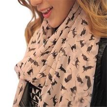Модный женский шифоновый цветной шарф-котенок с милым рисунком кота, стильная шаль в стиле граффити, рождественский подарок для девочек