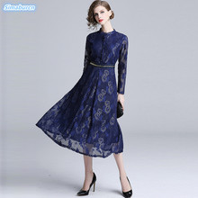 Autumn Lace Dress Women Work Casual Slim Fashion O-neck Sexy Hollow Out A-line Blue Dresses Ladies Winter Vestidos 2018