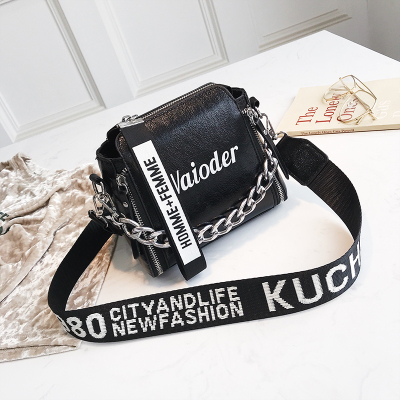 ETAILL Barrel Shaped PU Leather Design Crossbody Bag With Thick Chain Stripe Letter Wide Strap Shoulder Bag Small Bucket Bag