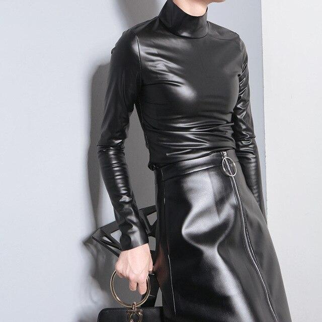 [Soonyour] 2017 Весенняя мода новые высокий воротник Тонкий тонкий PU кожа дна рубашки блузка + PU юбка черный костюм женщин AS19311