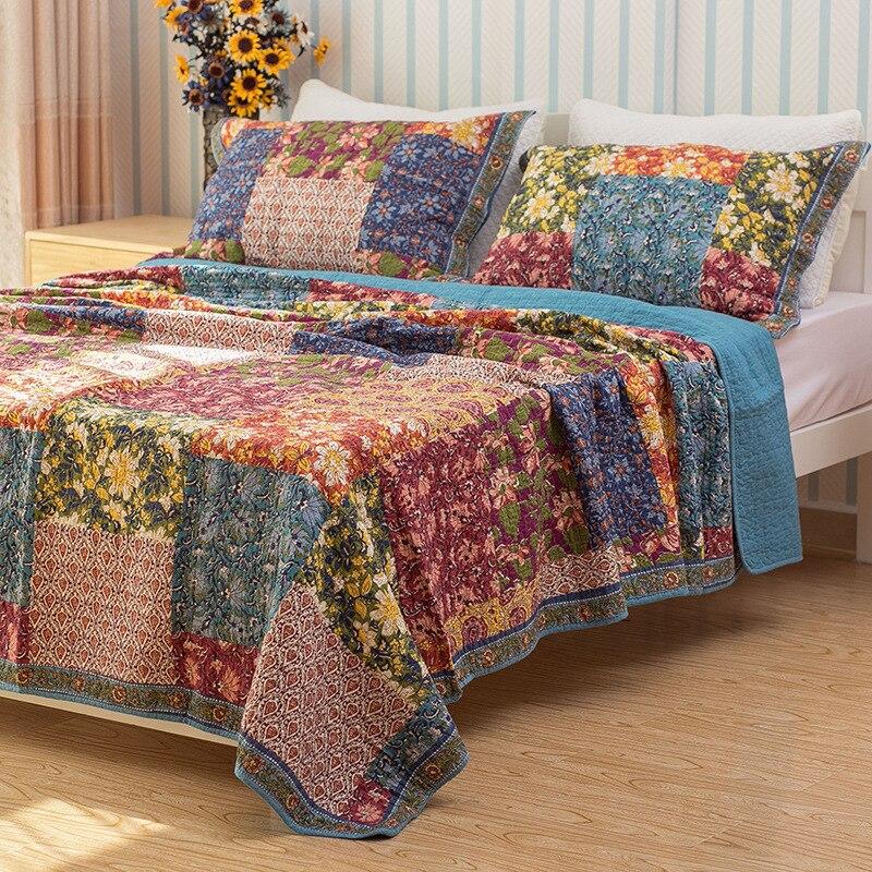 CHAUSUBวินเทจดอกไม้ผ้าคลุมเตียงชุด3ชิ้นล้างผ้าฝ้ายคลุมเตียงผ้านวมผ้าคลุมเตียงแผ่นนอนปลอกหมอนผ้าห่มขนาดคิงไซส์-ใน ผ้าคลุมเตียง จาก บ้านและสวน บน   2