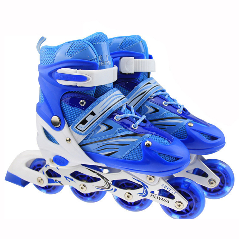 цена 1 Pair Children Inline Skate Roller Skating Shoes Adjustable Washable Breathable Flashing PU Wheels Teenagers Patines