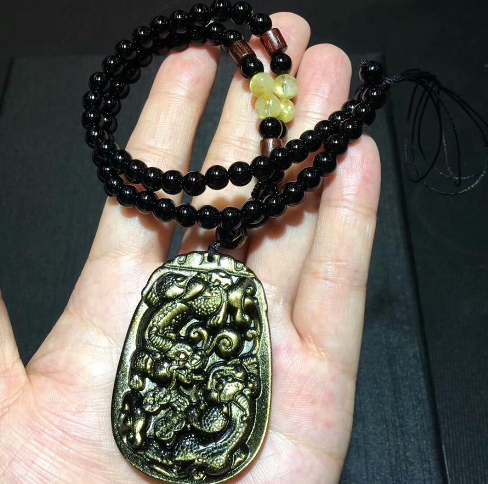 Genuine Natural Gold Obsidian Gemstone Pendant Gold Flash Women Man Pi Xiu Shape Crystal Pendant 59x40x13mm AAAAA Drop Shipping