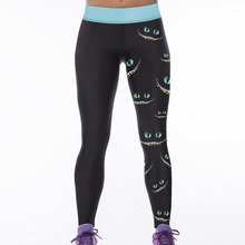 Summer Leggings 2017 Sexy Leggings Green-eyed Smiley Face 3D Print Women High waist Pants Trousers Workout Mujer Deportivas 75Z