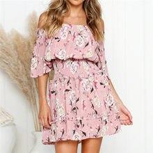 9f4c4ce6e5 Summer Dress 2019 Women Boho Style Floral Print Chiffon Beach Dress Sexy Off  Shoulder Elegant Mini Party Dress Sundress Vestidos