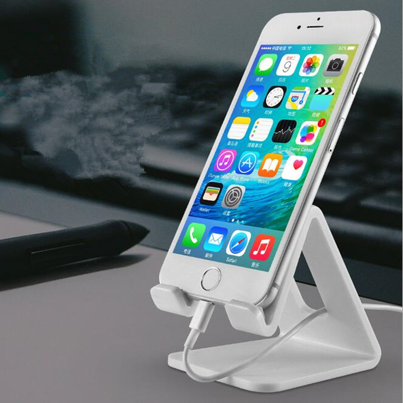 Image 2 - HOTR Universal Desk Holder Tablet Mobile Phone Holder with Shock proof Silicone Pad Strong Plastic Cell Phone Holder Stand Mount-in Phone Holders & Stands from Cellphones & Telecommunications