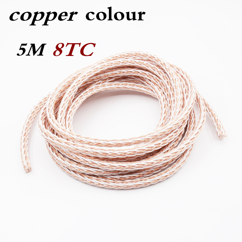 Free shipping 5Meter 5N OCC Copper colour 8TC  hifi audio speaker wire loud Speaker cable free shipping pair copper colour water hifi professional audio speaker cables