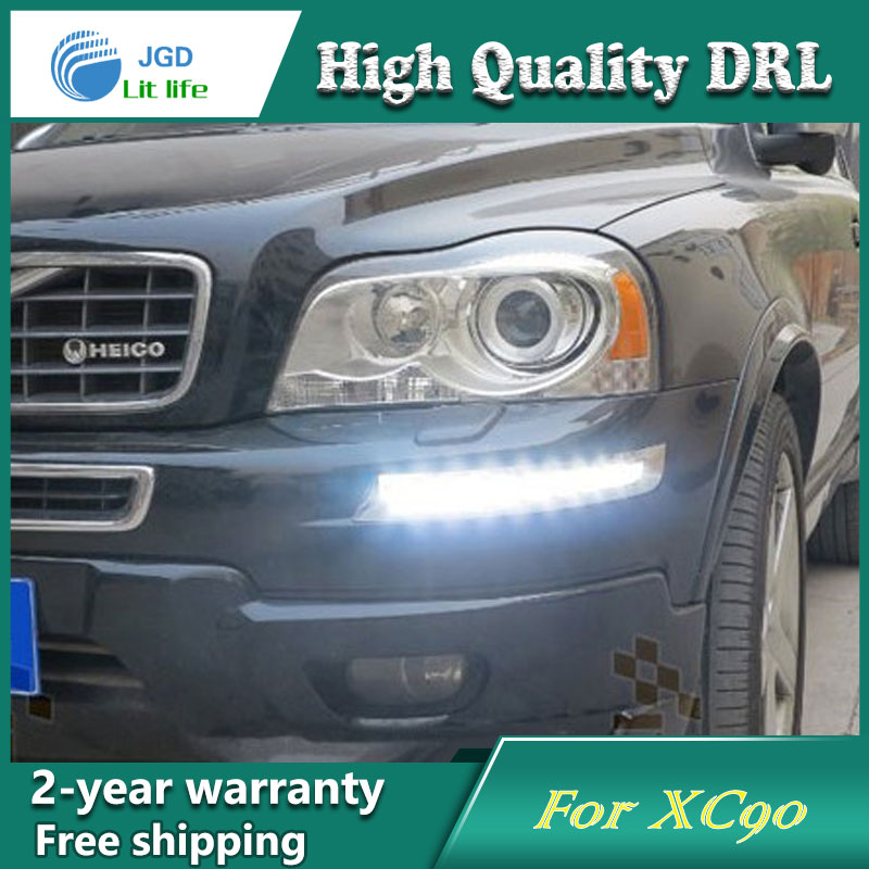 Free shipping !12V 6000k LED DRL Daytime running light case for Volvo XC90 2007-2013 fog lamp frame Fog light Car styling