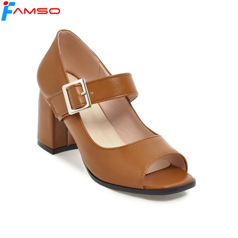FAMSO 2018 Big Size34-43 New Spring Arrival Women Pumps Shoes Buckle Peep toe High Heels Summer Sandals Women's Gladiator Pumps siketu 2017 free shipping spring and autumn women shoes sex high heels shoes wedding shoes pumps g135 word buckle summer sandals