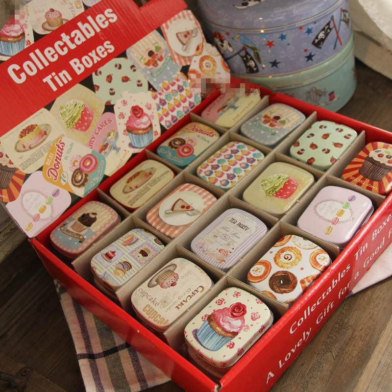 12 pcs/lot Metal Vintage Small Gift Tin Storage Box for Jewelry and Coins, Home Decor Wedding Favor Candy Organizer Case ...