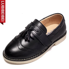 LUBIBEIBEI Black School Shoes Genuine Leather Kids