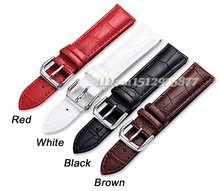 New Arrived 14 16 18 19 20 21 22 24mm Men and Women Genuine Leather Buckle Strap Charm Colorful Watch Band Red White Black Brown