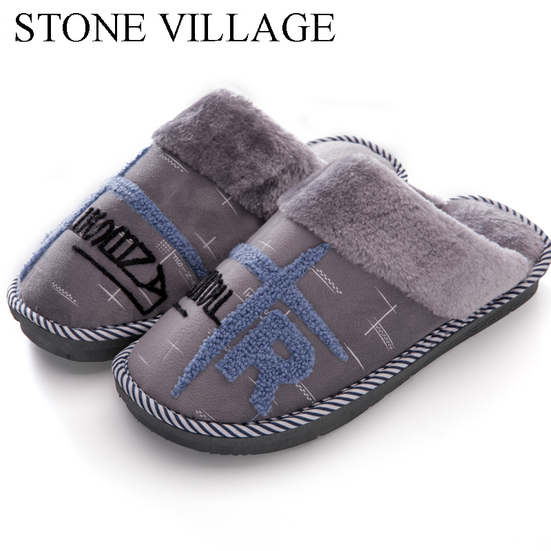 Autumn Winter Plush Warm Cotton Lovers Men Women Slippers Thick Bottom Indoor Shoes Letter Print Soft Comfortable Home Slippers fongimic comfortable women slippers women casual indoor plush shoes autumn winter warm fashion slippers hot sale flat slippers