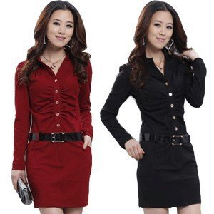 2012 Spring New Hot sell Wholesale A-line Cotton Knitwear Dress Long Sleeve Dress Lady's Clothes