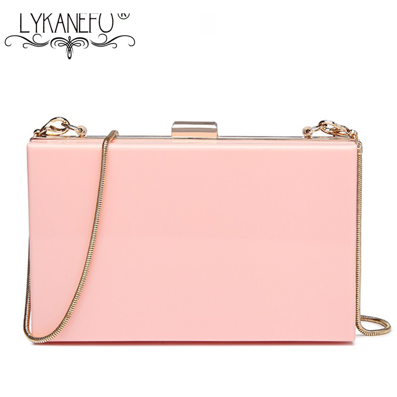 LYKANEFU Acrylic Material Women Evening Bags Frame Day Clutches Chain Shoulder Hand Bags For Party Wedding Purse Phone 2 Chains