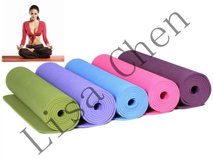 Protection de l'environnement haute élastique anti-dérapant tapis TPE yoga tapis exercice fitness yoga tapis 6 MM monochrome yoga couverture