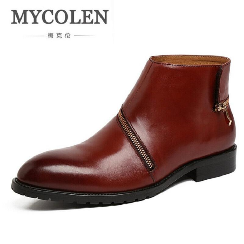 MYCOLEN Brand Genuine Leather Men Boots Fashion Personality Winter Boots Side Zipper Comfortable Casual Shoes coturnos masculino northmarch autumn winter retro men boots comfortable zipper brand casual shoes leather snow boots shoes dark red bota masculina
