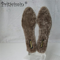 Pritivimin FN1100 Natural Real Fur Wool Sheepskin Insoles Cashmere Thermal Shearling Snow Boots Shoe Pad Adult