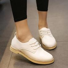 Women Flats Simple Lace-Up Oxfords shes Preppy style Student Casual Leather shoes Loafers 03