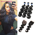 8A Grade Tissage Bresilienne Avec Closure 3 Bundles Hair With Closure Brazilian Body Wave With Closure 100% Virgin Human Hair