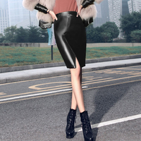 Phong cách thời trang 2018 Front Chia Faux Leather Váy Pencil Bodycon Stretch Wrap Cao Eo Phụ Nữ Ống pu Váy Cộng Với Kích Thước F3539