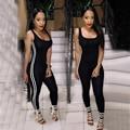 2016 Новая Мода Черные Женщины Спорт Комбинезон Сексуальный Эластичный Бинт Bodycon Боди Тощие Ползунки Работает Фитнес-Комбинезоны