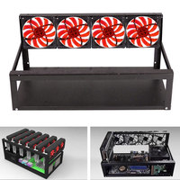 New High Quality Hot 6 GPU Mining Rig Aluminum Case 4 Fans Open Air Frame For