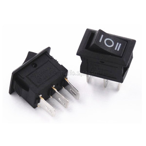 Image 3 - 10 ชิ้น 3 Pin 3A 250 โวลต์ 10*15 มิลลิเมตรสีดำปุ่มสวิทช์ ON OFF AC 10X15 Mini Rocker สวิทช์ไฟ