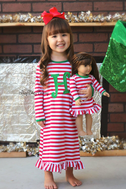 Girls Christmas Nightgown Ruffle font b Dress b font Girls Christmas Pajamas Red And White Stripe