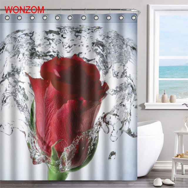 WONZOM 1Pcs Water Rose Shower Curtain Tulips Waterproof Bathroom Decor Flower Decoration Cortina De Bano 2017 Bath Gift