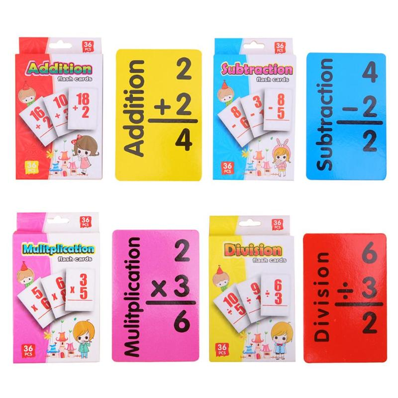 36pcs/set Baby Math Card English Learning Arithmetic Cards Early Education Toy Arithmetic Digital Card Early Education Toys
