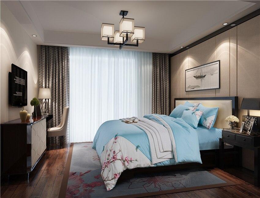 4/6pcs 60S Egypian Cotton Soft Bed Sheet Set Oriental