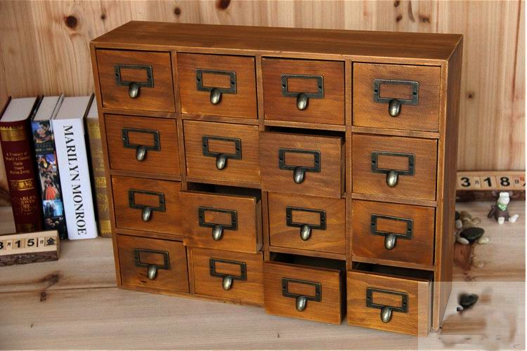 storage chest with drawers. 1PC Zakka 16 Lattice Desktop Drawer Storage Box Wooden Retro Creative Cabinet Living Room Decoration JL 0900-in Drawers From Home Chest With