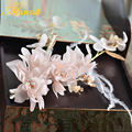 Gorgeous Wedding Headbands For Women Flower Hair Clips For Girls Feather Crystal Bridal Hair Jewelry Gold Plated Hairgrips SG396