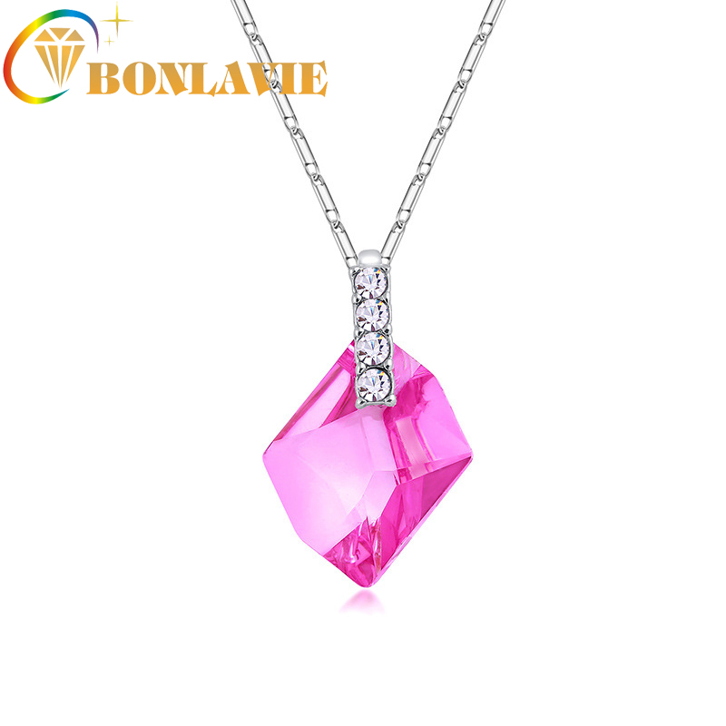 Yiwu Honmgda  international trade. 5 Colors Exquisite Crystal Pendant Necklace Chain Collar Necklace for Women Statement Necklace Women Collares Ethnic Jewelry