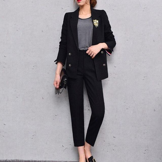 Pantalones de traje mujeres casual Oficina Trajes trabajo formal Sets  uniforme estilos elegante Pantalones de traje cbc9c631101c