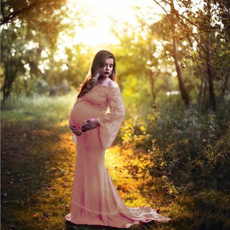Dress Pregnancy Dress Photography Maternity Photography Props Gravidas Vestidos Lace Clothes Pregnant Women Photo Shoot QV898