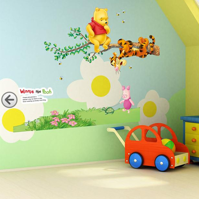 popular cartoon Winnie the Pooh home decor baby kids room decoration wall stickers child nursery funny animal tree decal sticker