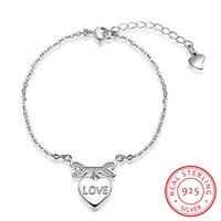 Robira Europe Popular Love Handcuffs Bracelet For Women 925 Sterling Silver Heart Chain Wedding Bracelets Fine