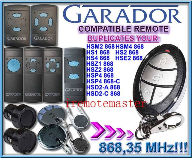 2 pieces/lot! GARADOR hsm2 868, hsm4 868 replacement remote control duplicator 868.35MHZ