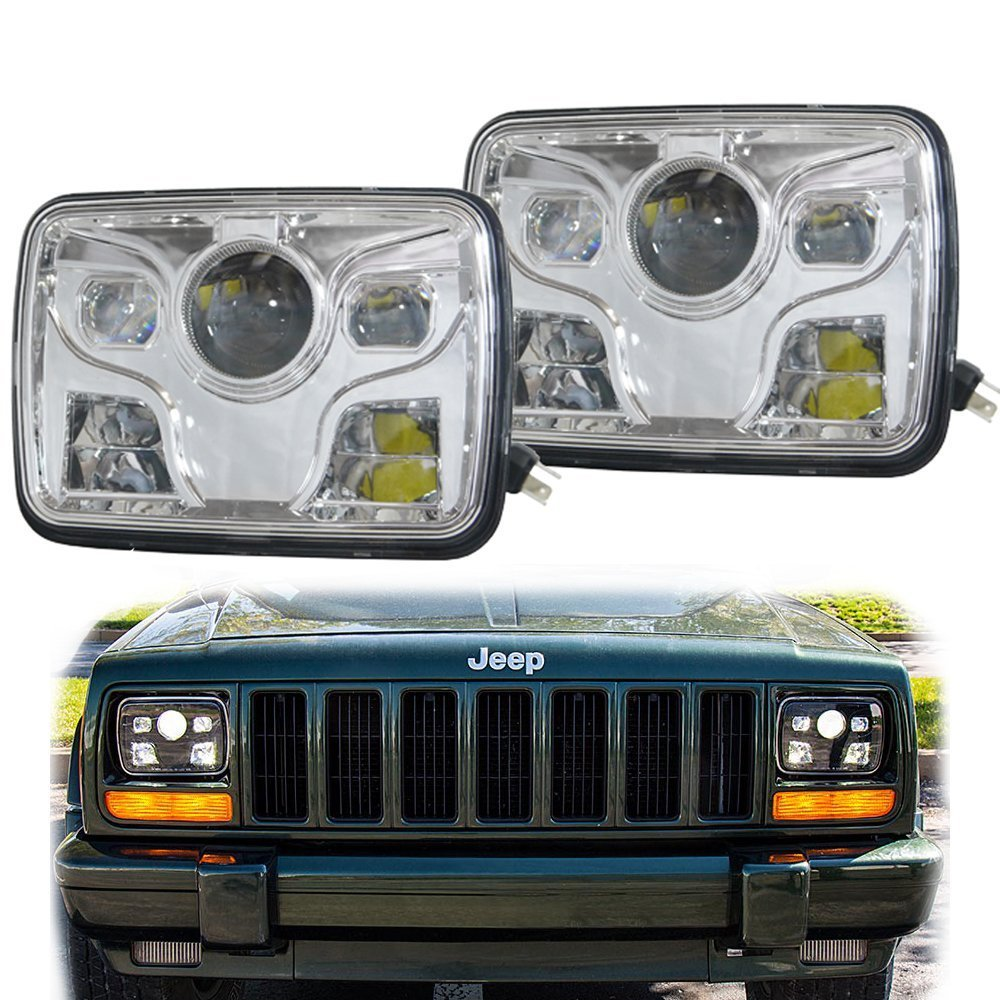 2X DOT 5 x 7 Inch Daymaker LED Headlight High /Low Beam Headlamp For jeep Wrangler YJ Cherokee XJ Trucks 4X4 Offroad for jeep wrangler jk round 7 high low beam 50w led driving headlight for hummer offroad 4x4 7 inch daymaker headlamp angel eye
