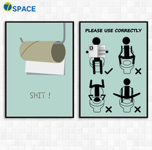 7-Space Modern Wall Art Cartoon Toilet Spoof Canvas Painting Posters And Prints Pictures Living Room Study Decor No Frame
