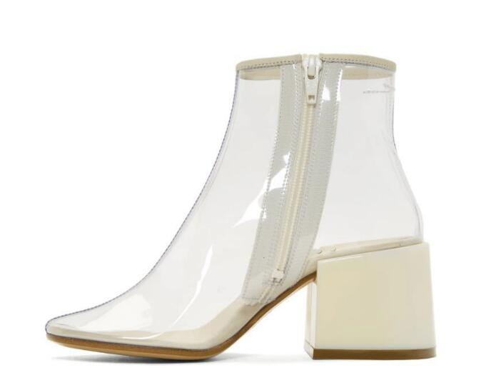 Carpaton 2018 Summer New fashion thick with square head side zipper sexy transparent PVC cool boots fashion women's shoes new fashion boots summer cool