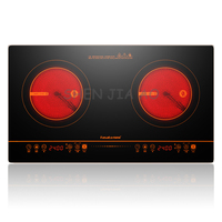 Household double electric stove infrared light wave heating double cooker ceramic hob kitchen equipment 220V 2400W