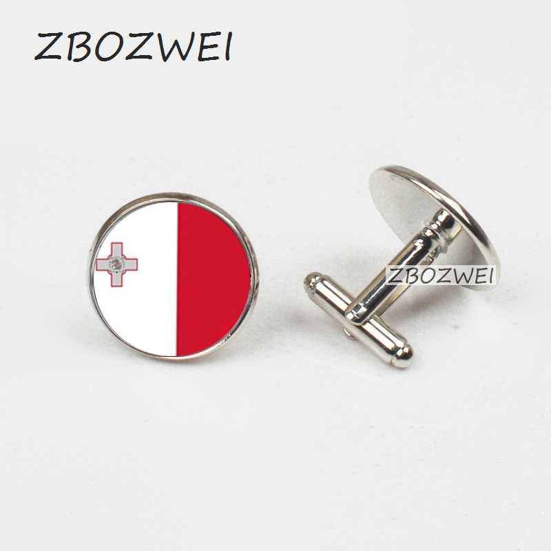 ZBOZWEI moda malta ulusal bayrak kol düğmeleri gümüş kaplama Anime kol düğmesi manşet düğmesi erkekler gömlek aksesuarları damla nakliye