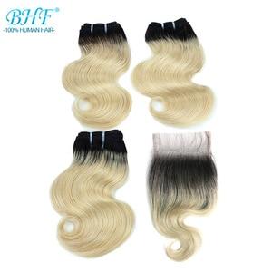 Image 1 - BHF 100% человеческие волосы, волнистые, 3 шт. в партии, с застежкой, бразильские Реми, 50 г/упак., наращивание волос, короткий Боб, парик, стиль