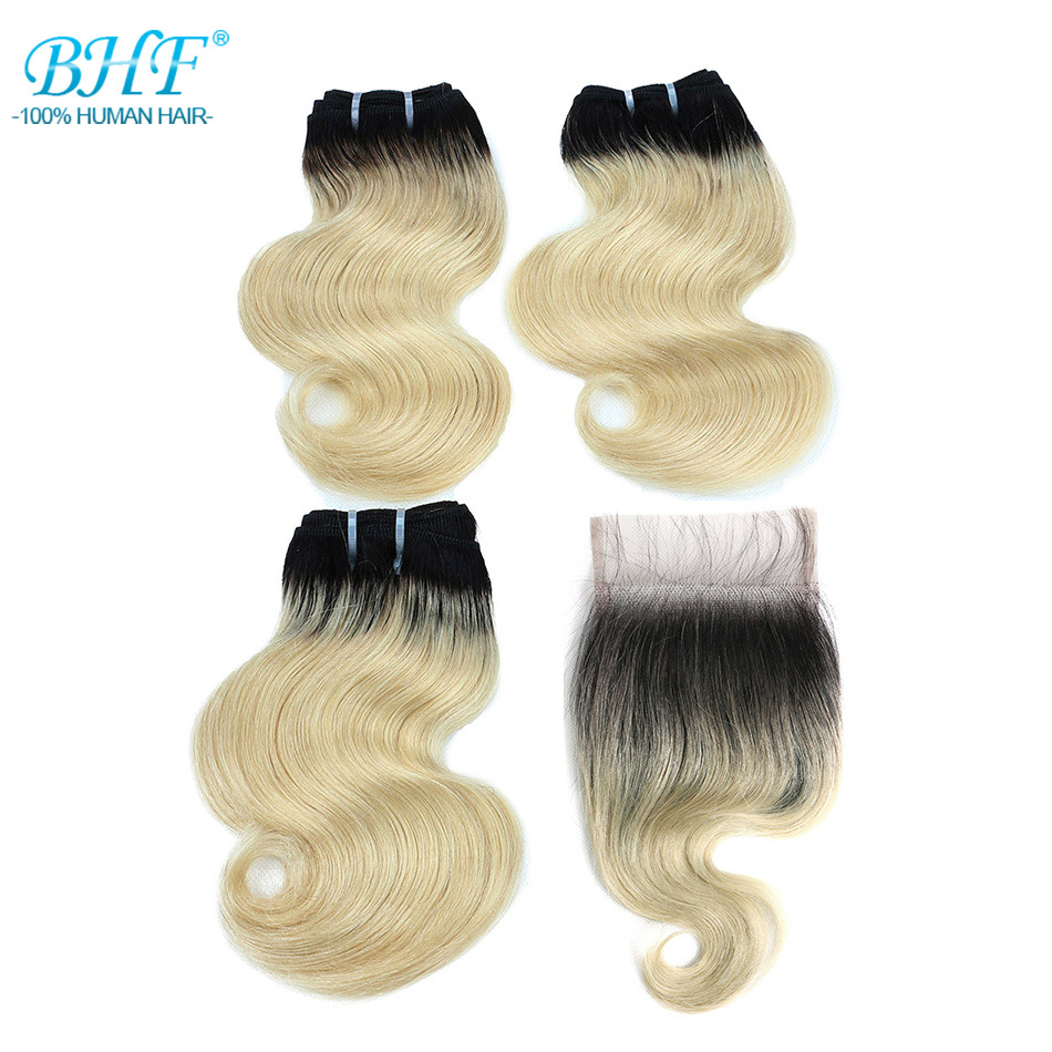 BHF 100% Human Hair Body Wave 3pcs lot With Closure Non remy 8inch 50g/pack Hair Extensions-in 3/4 Bundles with Closure from Hair Extensions & Wigs
